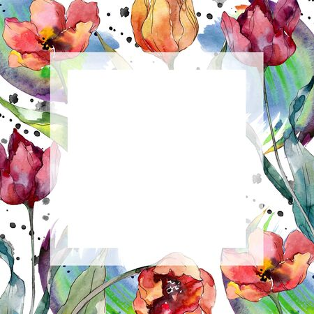 Red tulip floral botanical flower. Wild spring leaf wildflower isolated.  background illustration set. Watercolour drawing fashion aquarelle isolated. Frame border ornament square. Stok Fotoğraf