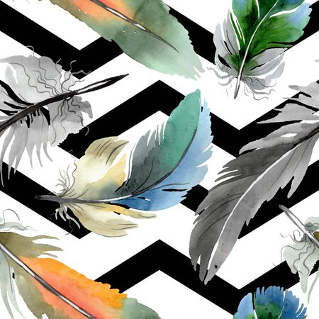 Colorful bird feather from wing isolated. Watercolor background illustration set. Watercolour drawing fashion aquarelle isolated. Seamless background pattern. Fabric wallpaper print texture. Stock fotó