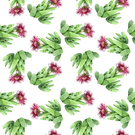 Green cactus floral botanical flower. Wild spring leaf wildflower. Watercolor illustration set. Watercolour drawing fashion aquarelle. Seamless background pattern. Fabric wallpaper print texture. Stock fotó - 130834705