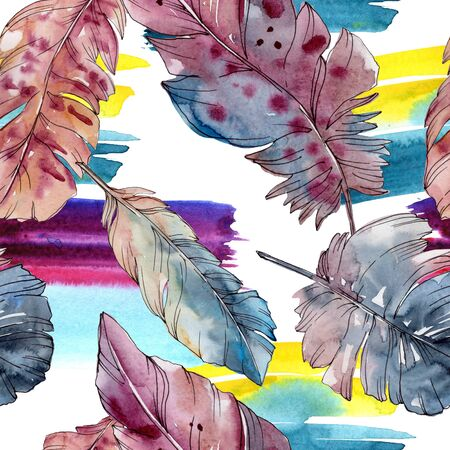 Colorful bird feather from wing isolated.  background illustration set. Watercolour drawing fashion aquarelle isolated. Seamless background pattern. Fabric wallpaper print texture. Stock Photo
