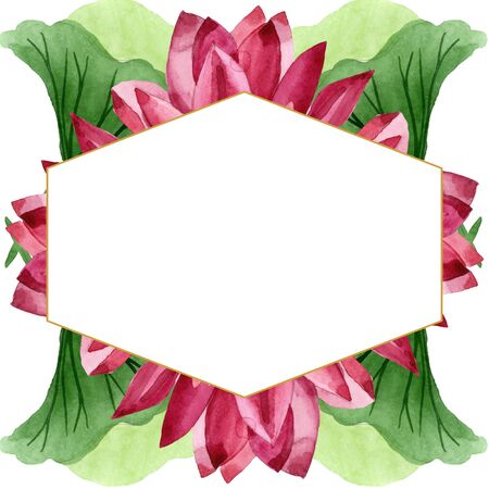 Red lotus floral botanical flower. Wild spring leaf wildflower isolated.  background illustration set. Watercolour drawing fashion aquarelle. Frame border ornament square.