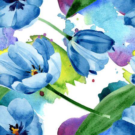 Blue tulip floral botanical flowers. Wild spring leaf wildflower.  illustration set. Watercolour drawing fashion aquarelle. Seamless background pattern. Fabric wallpaper print texture. Stockfoto