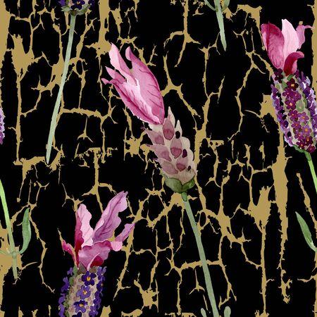 Purple lavender floral botanical flowers. Wild spring leaf wildflower.  illustration set. Watercolour drawing fashion aquarelle. Seamless background pattern. Fabric wallpaper print texture. Stockfoto