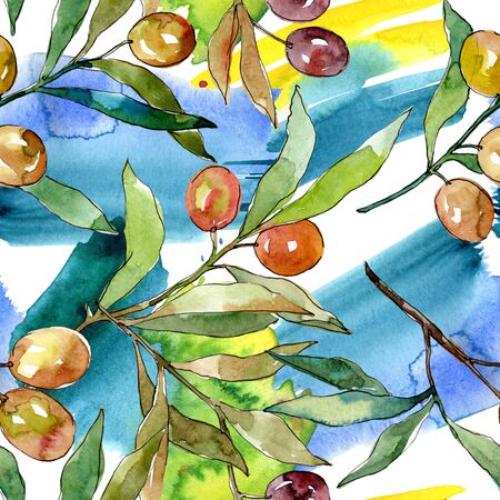 Olive branch with black and green fruit.  background illustration set. Watercolour drawing fashion aquarelle isolated. Seamless background pattern. Fabric wallpaper print texture.