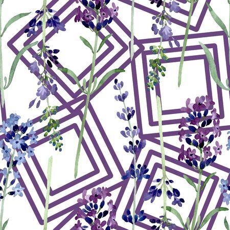 Violet lavender floral botanical flower. Wild spring leaf wildflower.  illustration set. Watercolour drawing fashion aquarelle. Seamless background pattern. Fabric wallpaper print texture. Stockfoto