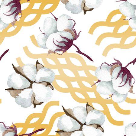 White cotton floral botanical flowers. Wild spring leaf wildflower.  illustration set. Watercolour drawing fashion aquarelle. Seamless background pattern. Fabric wallpaper print texture. Stockfoto