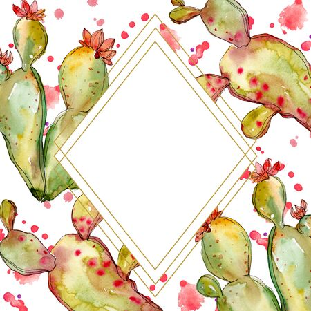 Green cactus floral botanical flowers. Wild spring leaf wildflower isolated.  background illustration set.  drawing fashion aquarelle isolated. Frame border ornament square.
