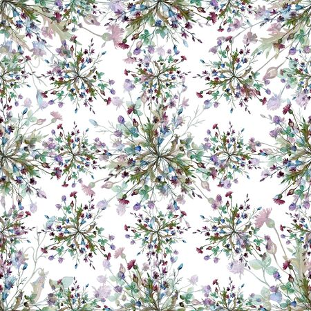 Wildflowers floral botanical flowers. Wild spring leaf wildflower.  illustration set. Watercolour drawing fashion aquarelle. Seamless background pattern. Fabric wallpaper print texture.