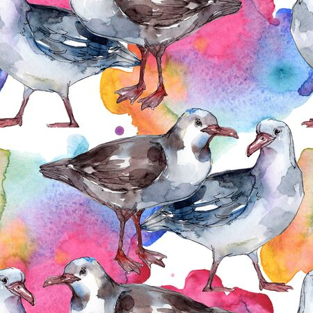 Sky bird seagull in a wildlife. Wild freedom, bird with a flying wings. Watercolor illustration set. Watercolour drawing fashion aquarelle. Seamless background pattern. Fabric wallpaper print texture.