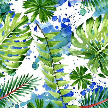 Exotic tropical hawaiian summer. Palm beach tree leaves.  illustration set. Watercolour drawing fashion aquarelle. Seamless background pattern. Fabric wallpaper print texture. Stok Fotoğraf