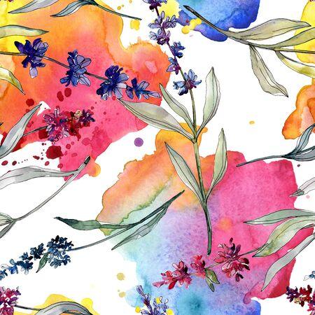 Lavender floral botanical flowers. Wild spring leaf wildflower.  illustration set. Watercolour drawing fashion aquarelle. Seamless background pattern. Fabric wallpaper print texture. Stockfoto