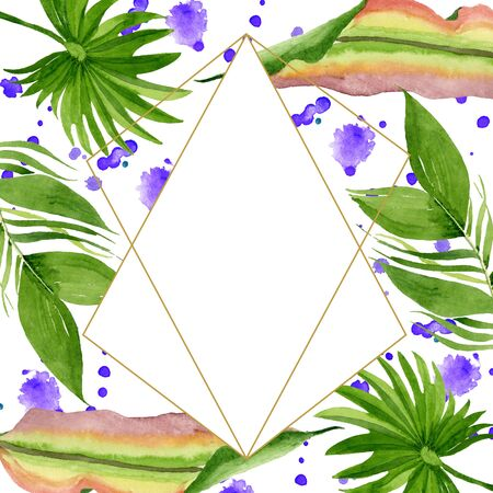 Exotic tropical hawaiian summer. Palm beach tree leaves jungle botanical.  background illustration set. Watercolour drawing fashion aquarelle. Frame border crystal ornament square. Stok Fotoğraf