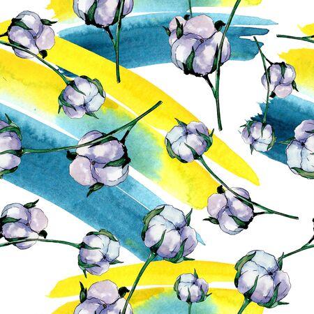 Cotton floral botanical flower. Wild spring leaf wildflower.  illustration set. Watercolour drawing fashion aquarelle. Seamless background pattern. Fabric wallpaper print texture. Stockfoto