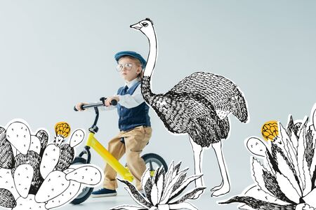 thoughtful kid in retro vest and cap riding bicycle on grey background with fairy ostrich among cacti illustration