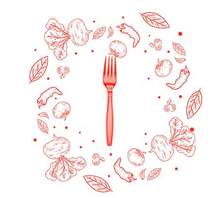 red plastic bright fork with vegetables and leaves illustration isolated on white Archivio Fotografico - 130885012