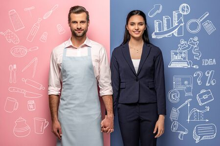 smiling man in apron and businesswoman holding hands on blue and pink