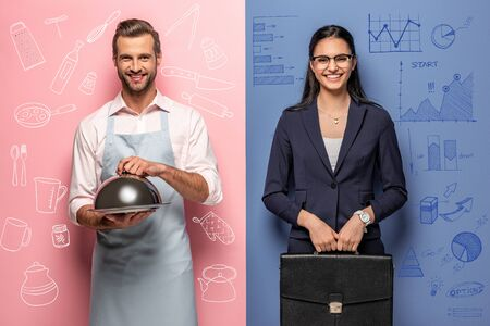 smiling man in apron with Serving Tray and businesswoman with briefcase on blue and pink
