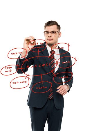handsome businessman in glasses holding marker pen near lead by example lettering on white Stock Photo