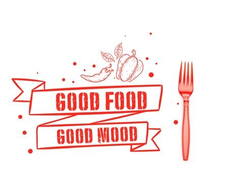 red plastic bright fork near good food good mood lettering isolated on white Stockfoto