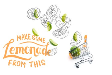 top view of lime slices near decorative small shopping cart near make some lemonade from this lettering isolated on white