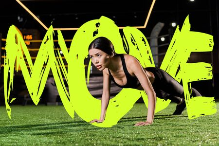 attractive and athletic woman doing press ups on green grass with move illustration Stockfoto