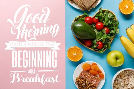 top view of diet food on blue and pink background with with good morning, have a great day beginning with breakfast lettering Фото со стока