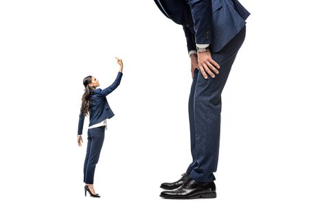 small businesswoman showing middle finger at big businessman Isolated On White