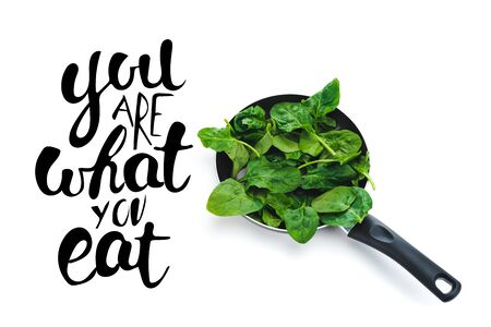 green fresh spinach leaves in frying pan on white background near you are what you eat black lettering