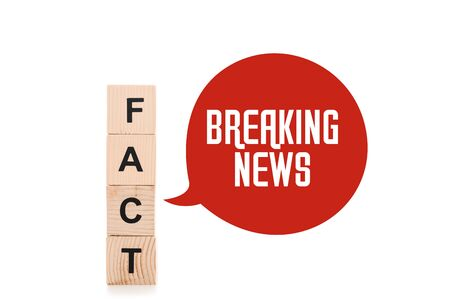 black fact word made of wooden blocks near red speech bubbles with breaking news lettering isolated on white Stock Photo