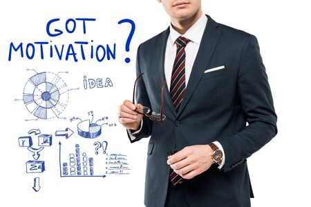 cropped view of businessman in suit holding glasses near got motivation lettering on white