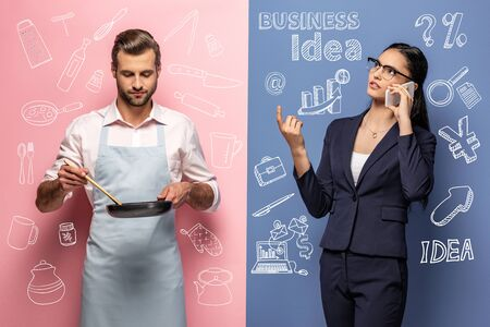 man in apron holding frying pan while businesswoman talking on smartphone on blue and pink