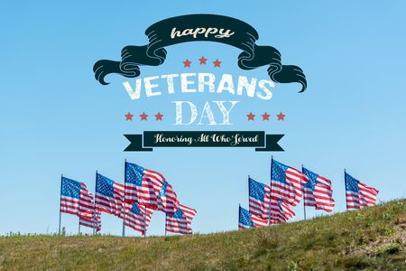 national american flags on green grass against blue sky with happy veterans day, honoring all who served illustration