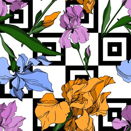 Vector Iris floral botanical flowers. Wild spring leaf wildflower isolated. Black and white engraved ink art. Seamless background pattern. Fabric wallpaper print texture. Иллюстрация