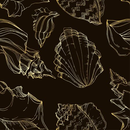 Vector Summer beach seashell tropical elements. Black and white engraved ink art. Seamless background pattern. Fabric wallpaper print texture on white background. 向量圖像