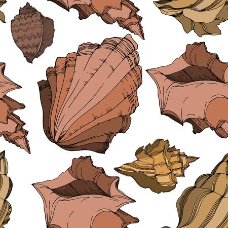 Vector Summer beach seashell tropical elements. Black and white engraved ink art. Seamless background pattern. Fabric wallpaper print texture on white background. Ilustrace