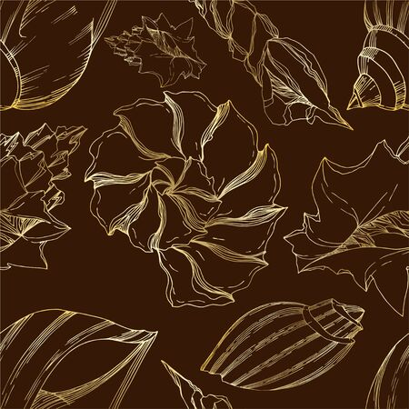 Vector Summer beach seashell tropical elements. Black and white engraved ink art. Seamless background pattern. Fabric wallpaper print texture on white background. Çizim