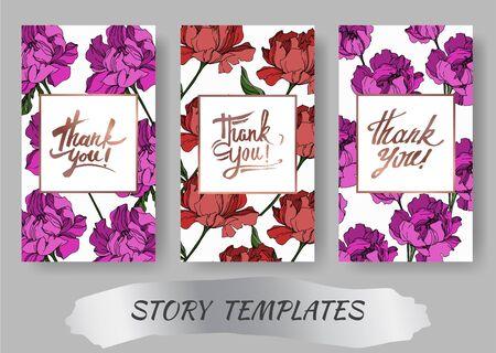 Vector Peony floral botanical flowers. Black and white engraved ink art. Wedding background card floral decorative border. Thank you, rsvp, invitation elegant card illustration graphic set banner. Vektorgrafik