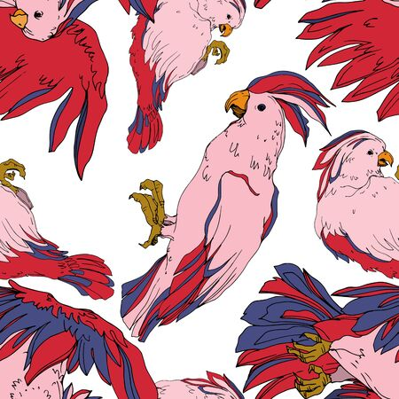 Vector Sky bird cockatoo in a wildlife isolated. Wild freedom, bird with a flying wings. Black and white engraved ink art. Seamless background pattern. Fabric wallpaper print texture. Ilustração