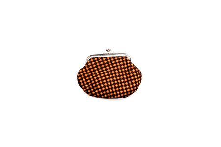 top view of vintage plaid wallet isolated on white 写真素材 - 131181974