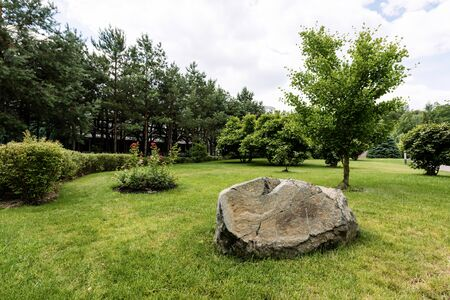 huge stone on green and fresh grass near trees in park Stock fotó