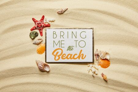 top view of placard with bring me to the beach lettering near seashells, starfish and white corals on sandy beach