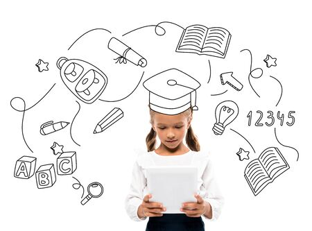 cute schoolkid using digital tablet near books and numbers on white