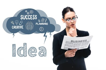 attentive businesswoman reading newspaper near idea word and thought bubble with symbols and success, creative, planning words isolated on white