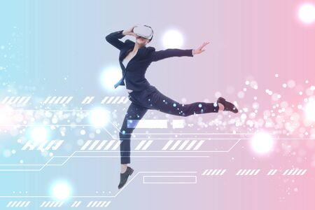 businesswoman in virtual reality headset levitating on blue and pink gradient background with cyberspace illustration