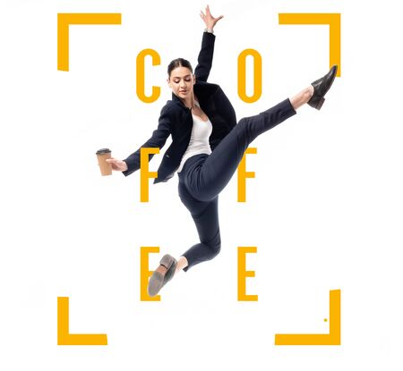 attractive businesswoman holding coffee to go and dancing near coffee word framed with corners isolated on white