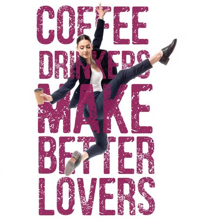 attractive businesswoman dancing with coffee to go near coffee drinkers make better lovers lettering isolated on white 版權商用圖片
