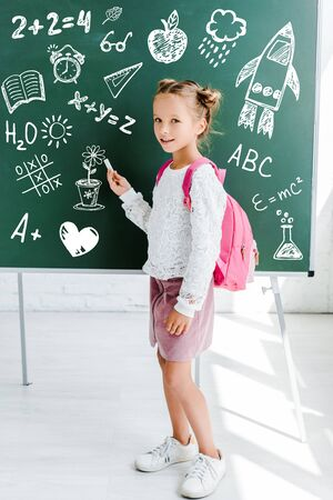 happy kid standing with backpack and holding chalk near drawing on green chalkboard