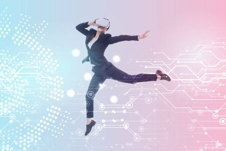 young businesswoman in virtual reality headset levitating on blue and pink gradient background with cyberspace illustration