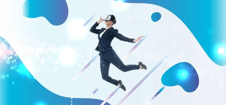 young businesswoman in virtual reality headset levitating on grey background with blue and white abstract cyberspace illustration