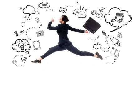side view of young businesswoman jumping with briefcase near illustration with multimedia icons and pictograms isolated on white 版權商用圖片